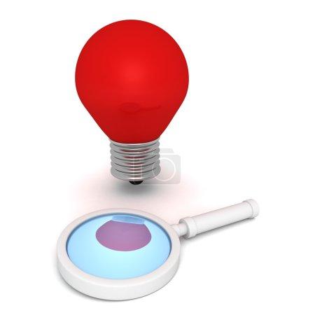 Photo pour Loupe rouge et concept idée ampoule sur fond blanc - image libre de droit