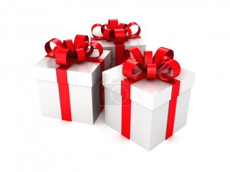 gift boxes with a ribbon on white background