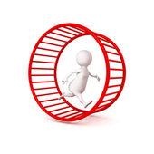 3d white businessman runs in hamster wheel