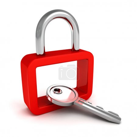 Photo for Red security padlock with metallic key. safety concept 3d render illustration - Royalty Free Image