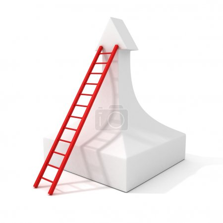 Photo for White rising success arrow and stairs steps ladder - Royalty Free Image