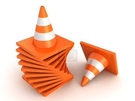 Foto de Pila de conos de tráfico de carretera naranja sobre fondo blanco - Imagen libre de derechos