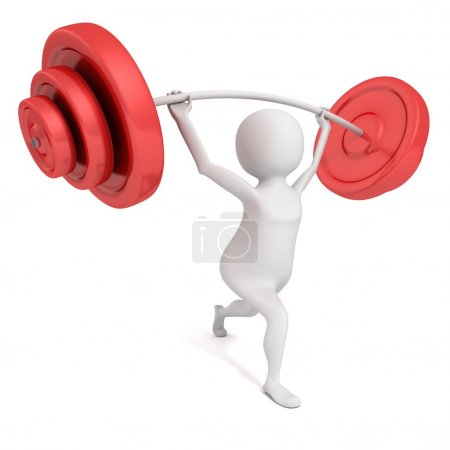 White 3d man lifting heavy  barbell