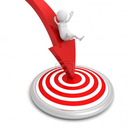 Photo for 3d man achieves the goal of target on red arrow - Royalty Free Image