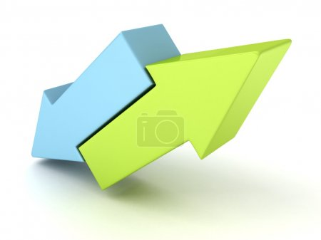 Photo for Two concept blue and green arrows in different directions - Royalty Free Image