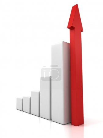 Graph with growing red arrow