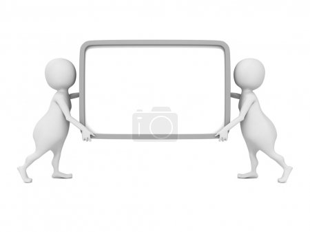 Photo for Two 3d people carry empty signboard info banner in hands - Royalty Free Image
