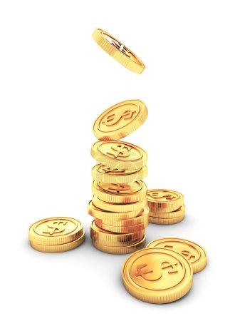 Photo pour Pile de pièces d'or dollar comme concept d'entreprise de succès - image libre de droit