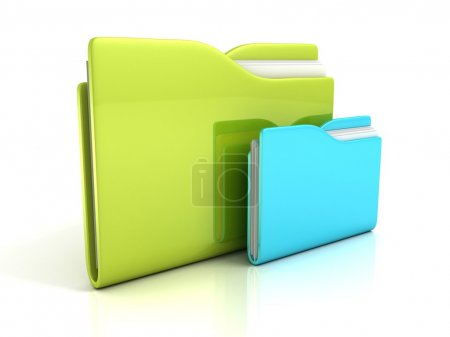 Photo for Green and blue folders with documents icon concept - Royalty Free Image