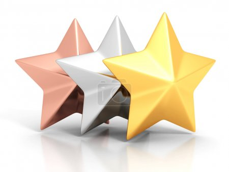 Golden, silver and bronze winner stars