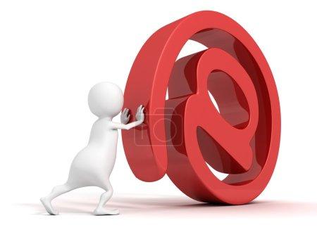 Foto de Blanco 3d hombre rollos rojo en el signo de correo electrónico - Imagen libre de derechos