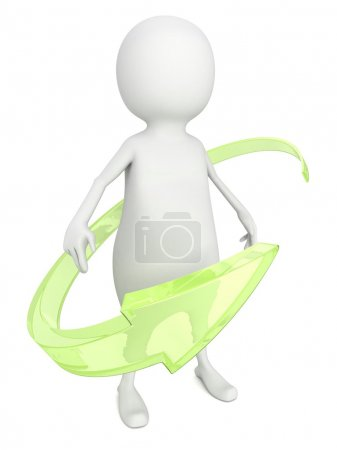 Green arrow around 3d   man