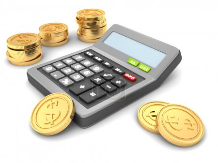 Office calculator with golden  coins