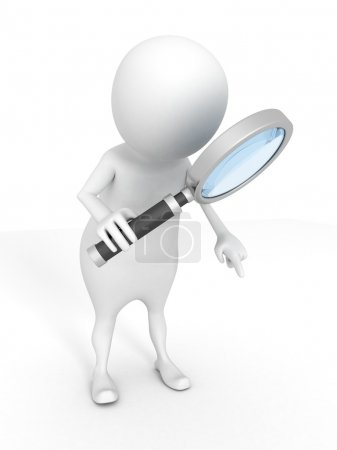 Photo for 3d white man examines through a magnifying glass - Royalty Free Image