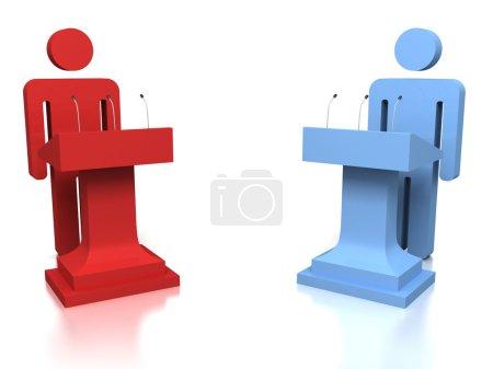 3D people opponents in a debate