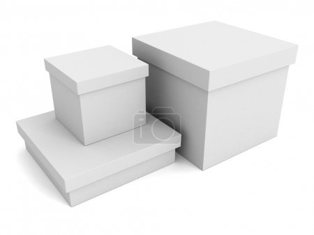 Photo for Three white cardboard paper boxes on white background - Royalty Free Image