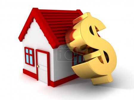 Photo for House with red roof and big golden dollar symbol - Royalty Free Image