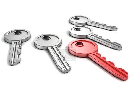 Photo pour Ensemble de porte clés avec un rouge sur blanc - image libre de droit