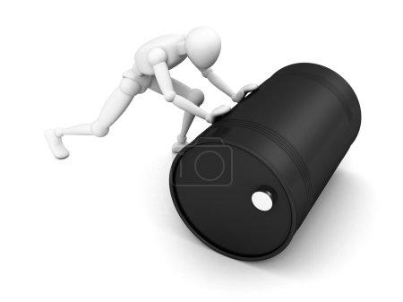 Photo pour Blanc 3d homme rouleaux noir baril d'huile - image libre de droit