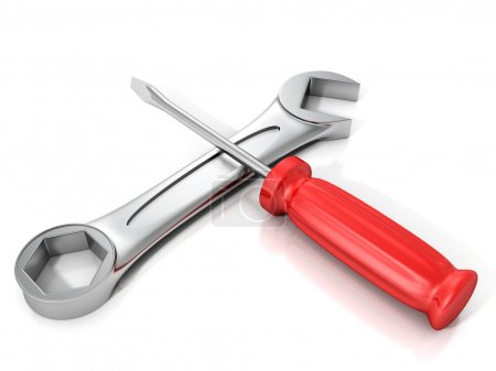 Red screwdriver and wrench spanner