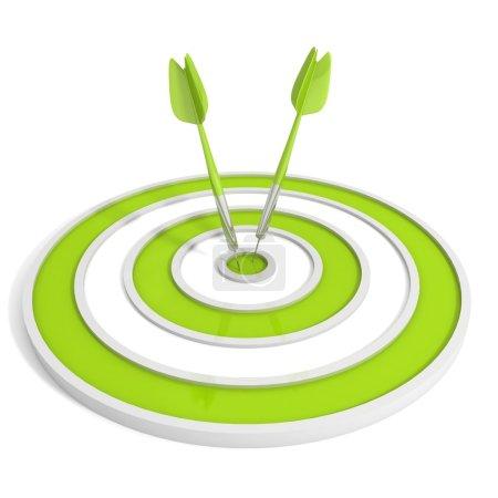 Photo pour Cible verte et deux flèches de fléchettes sur fond blanc - image libre de droit