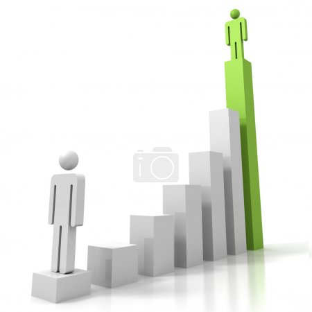 3d man figures on success   chart