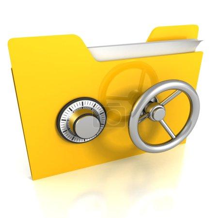 Photo pour Dossier jaune avec verrouillage sécurisé. Concept de sécurité des données . - image libre de droit