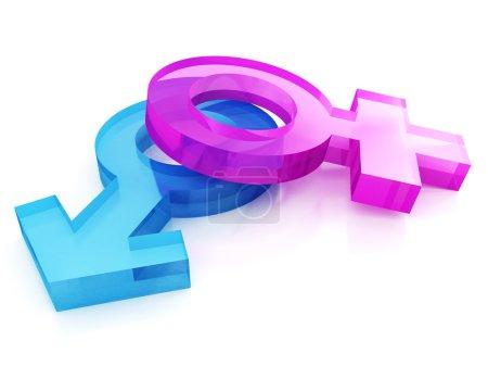 Photo pour 3d sexe sexe signes sur fond blanc - image libre de droit