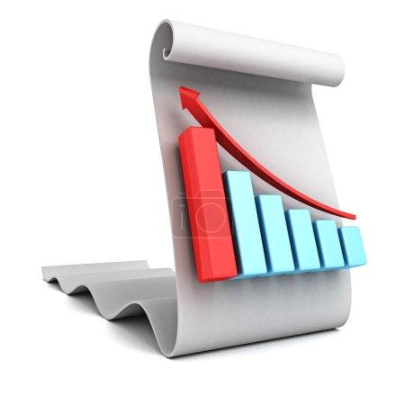 Business bar graph on a paper