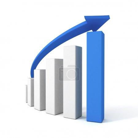 3d blue arrow and success bar