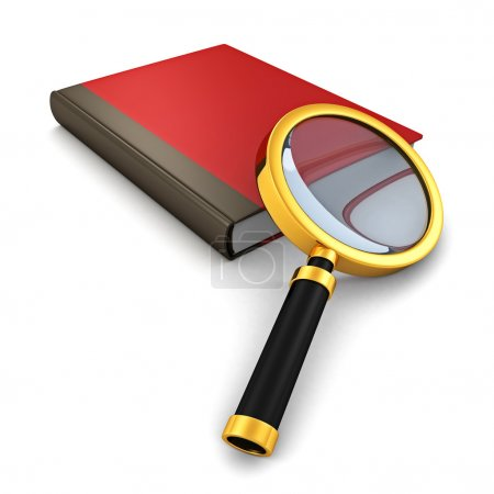Red book with magnifying glass
