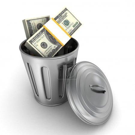 Trash can full of dollars packs