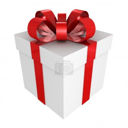 Foto de Caja de regalo blanca con cinta roja - Imagen libre de derechos