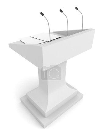 Photo pour Tribune de podium de discours avec microphone sur fond blanc - image libre de droit