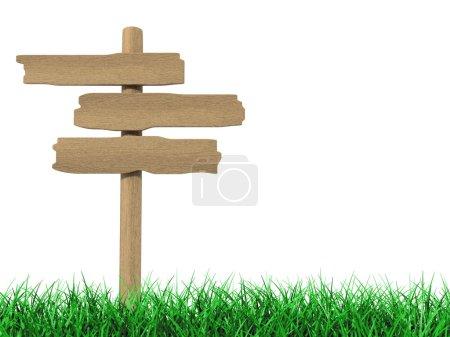 Photo pour Vieux panneau d'affichage en bois sur l'herbe sur fond blanc - image libre de droit