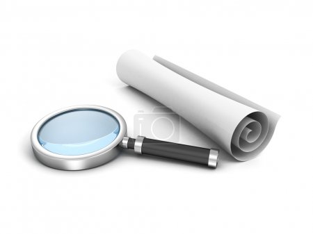 Scroll white paper and magnifying glass