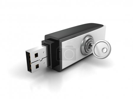 Photo for Usb flash drive with lock key on white background. 3d render illustration - Royalty Free Image