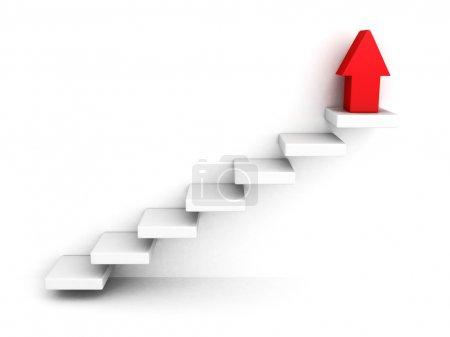 Photo pour Rouge grandit à échelle de réussite flèche et à l'étage d'étapes. illustration de rendu 3D - image libre de droit
