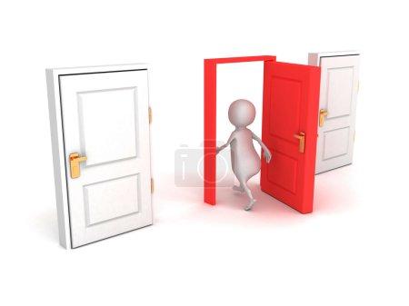 Photo pour 3d homme faire le bon choix marcher à travers la porte rouge. concept de succès illustration de rendu 3d - image libre de droit