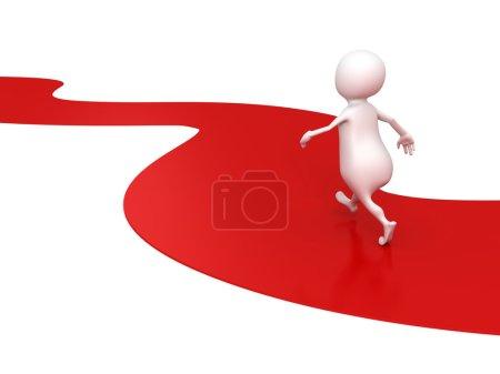 Photo pour Blanc 3d personne marche en avant sur le chemin de la route rouge. concept de succès illustration de rendu 3d - image libre de droit