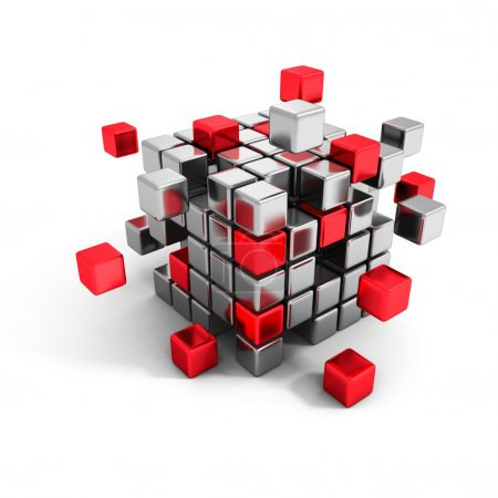 Metallic and red cube blocks structure.