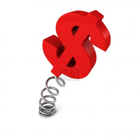 Red dollar currency symbol