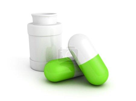 Medicine bottle and green pills