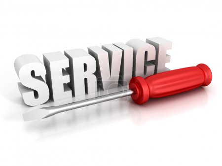 concept SERVICE text with red screwdriver on white background