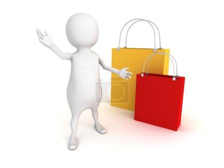 Photo pour 3d personne avec des sacs à provisions colorés. Vente entreprise concept 3d rendre illustration - image libre de droit