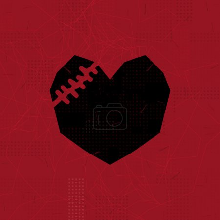 Illustration for Black sewn heart on red scratched background. - Royalty Free Image