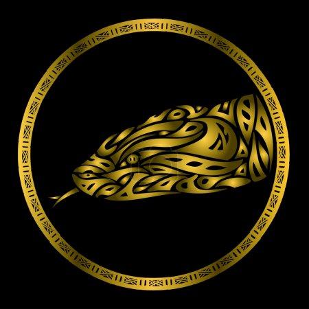 Illustration pour Illustration du symbole serpent doré - image libre de droit