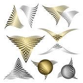 Set of golden and silver line symbols