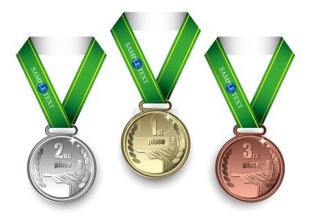 Illustration for Set of golden, silver and bronze medals with Jesus Christ motive  illustration - Royalty Free Image