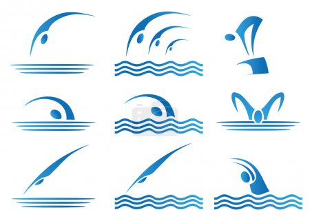 Illustration for Set of swimming icons illustration - Royalty Free Image
